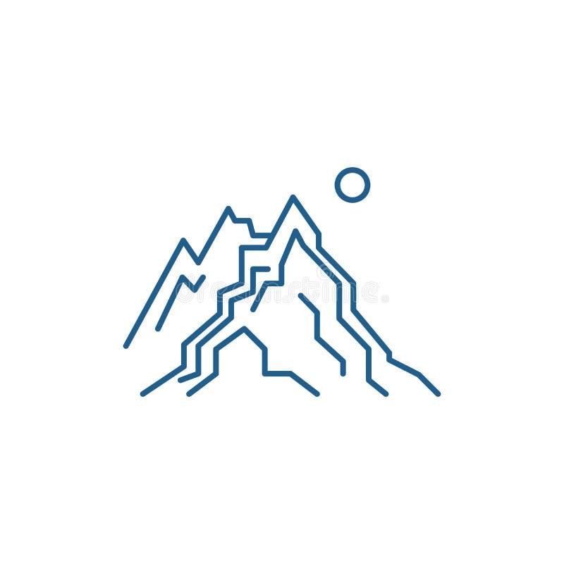 Las monta?as alinean concepto del icono El s?mbolo plano del vector de las monta?as, muestra, ejemplo del esquema libre illustration