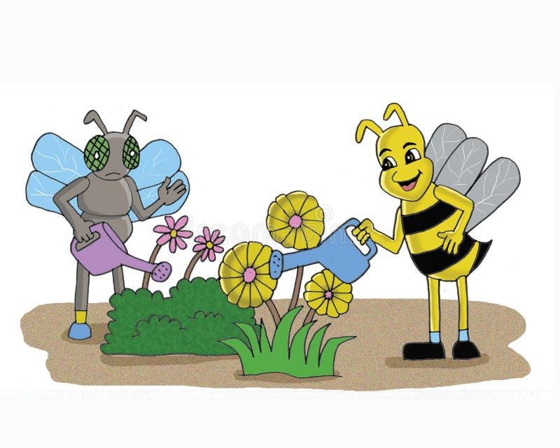 Las moscas y las abejas limpian la historieta de las plantas con un chorro de agua libre illustration