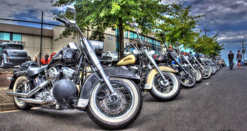 Las motocicletas de Harley Davidson en la exhibición en la bici muestran en Melbourne, Australia foto de archivo