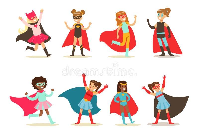 Las muchachas en sistema del traje del super héroe, las muchachas estupendas bastante pequeñas vector ejemplos en un fondo blanco libre illustration