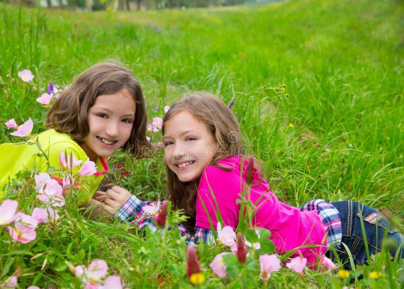 Las muchachas gemelas felices de la hermana que juegan el la primavera florecen el prado fotografía de archivo libre de regalías