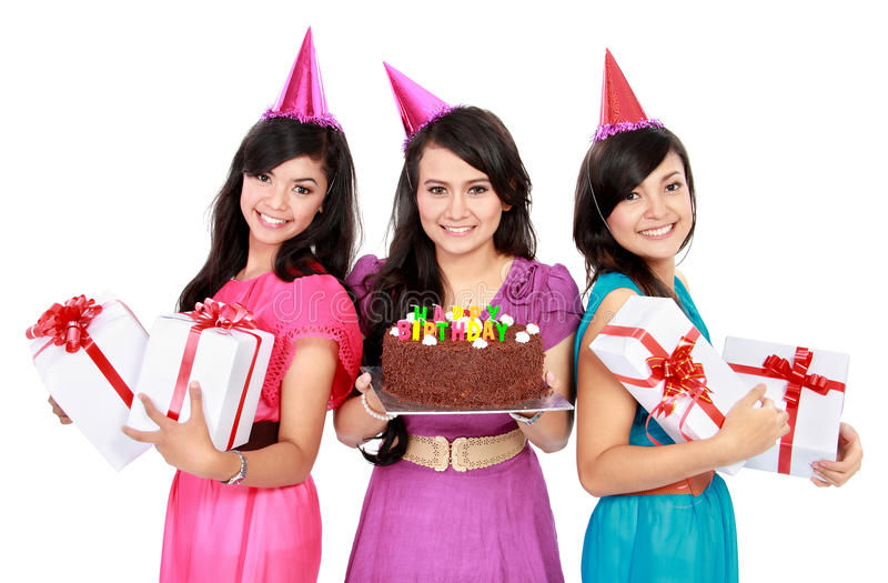 Las muchachas hermosas celebran cumpleaños imagen de archivo