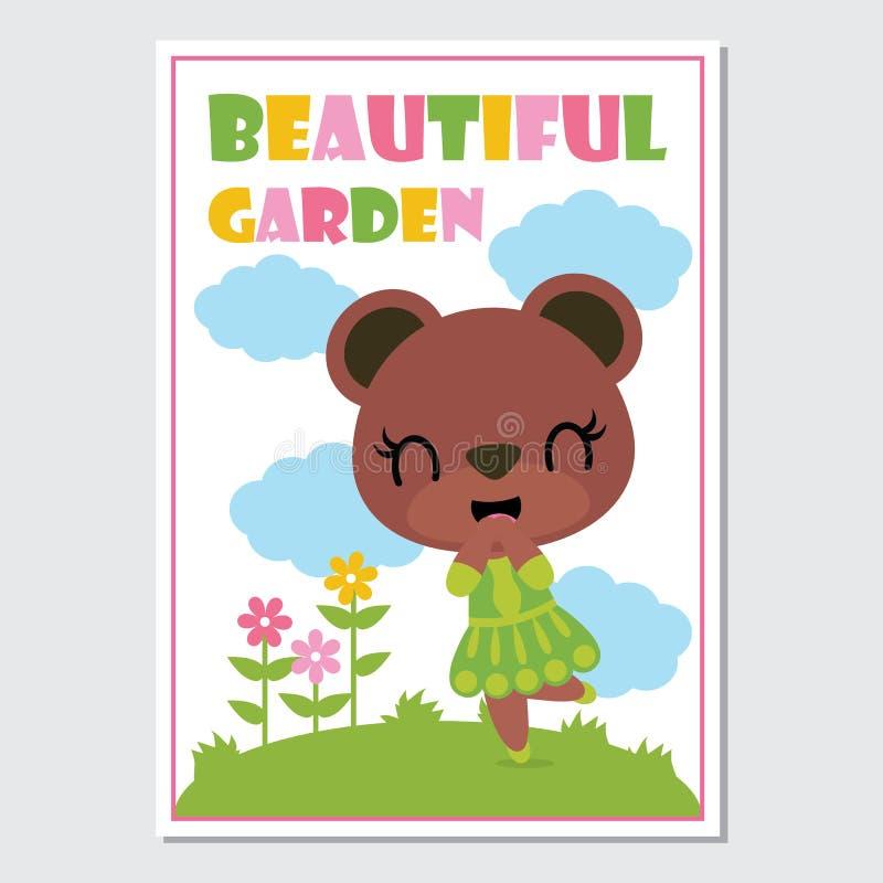 Las muchachas lindas del oso en el ejemplo de la historieta del jardín de flores para la cubierta de libro del niño diseñan ilustración del vector