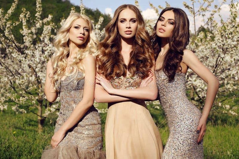 Las muchachas magníficas en lentejuela lujosa visten la presentación en jardín del flor foto de archivo libre de regalías