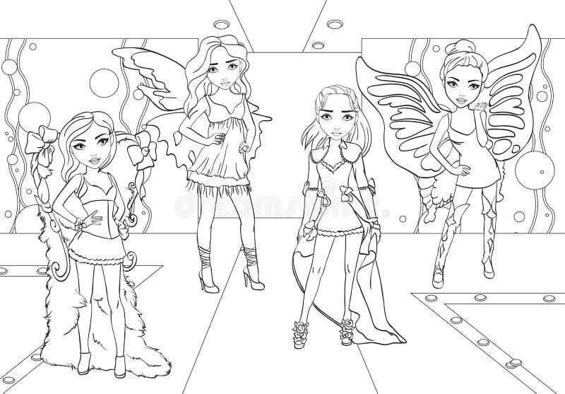Las muchachas que colorean hacen al desfile de moda en pista stock de ilustración