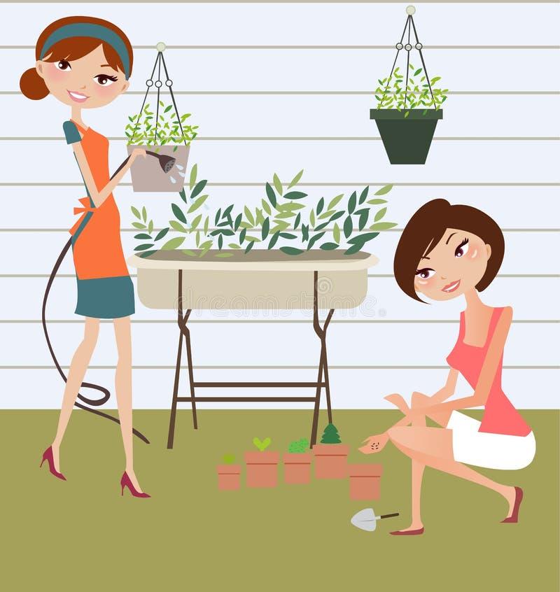 Las muchachas se relajan stock de ilustración