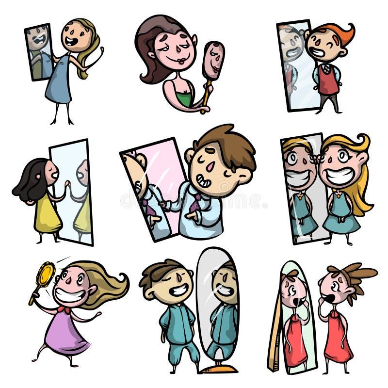 Las muchachas y los individuos hermosos jovenes miran en el espejo y muestran apagado delante de ellos mismos libre illustration