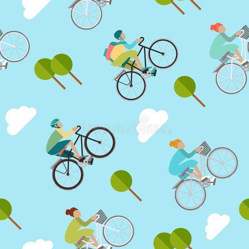 Las muchachas y los muchachos están montando la bici stock de ilustración