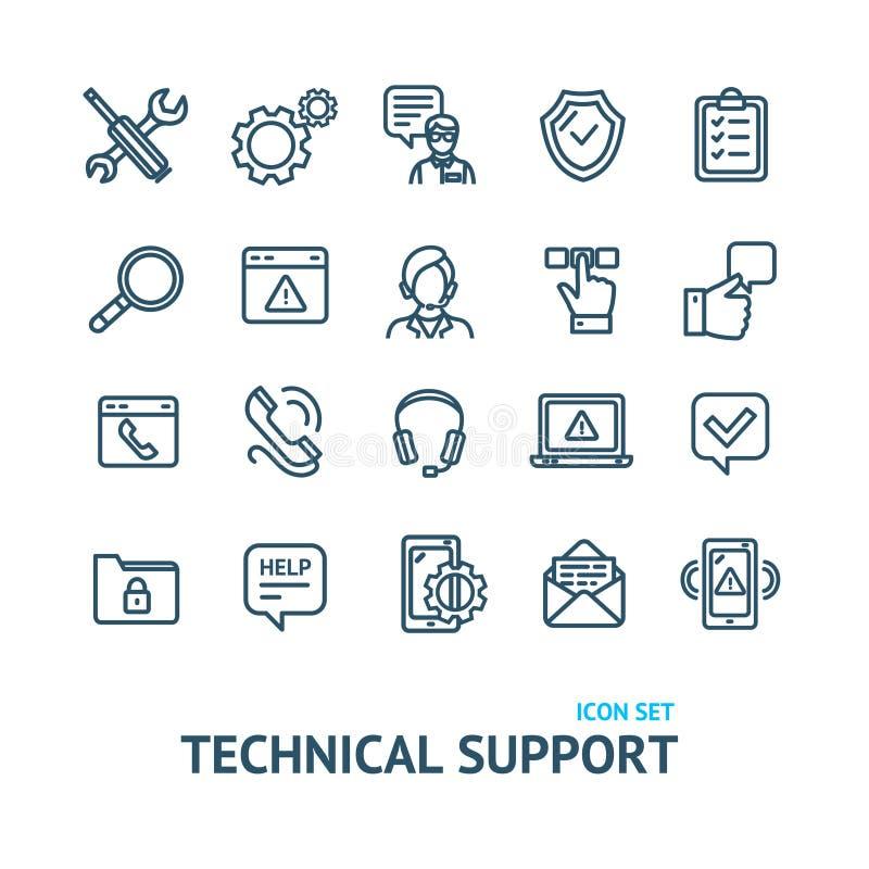 Las muestras del soporte técnico ennegrecen la línea fina sistema del icono Vector ilustración del vector