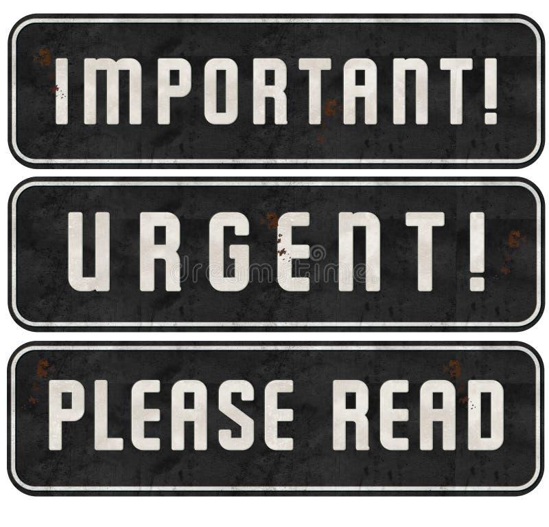 Las muestras por favor leídas urgentes del sello importante fijaron Grunge stock de ilustración