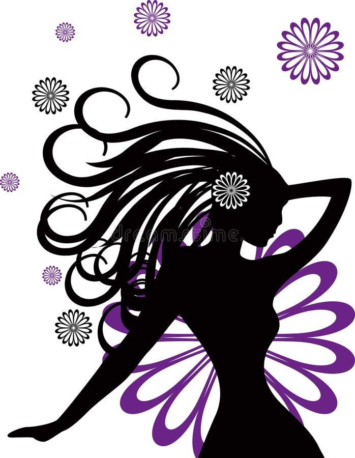 Las mujeres abstractas quieren la ilustración de las flores   stock de ilustración