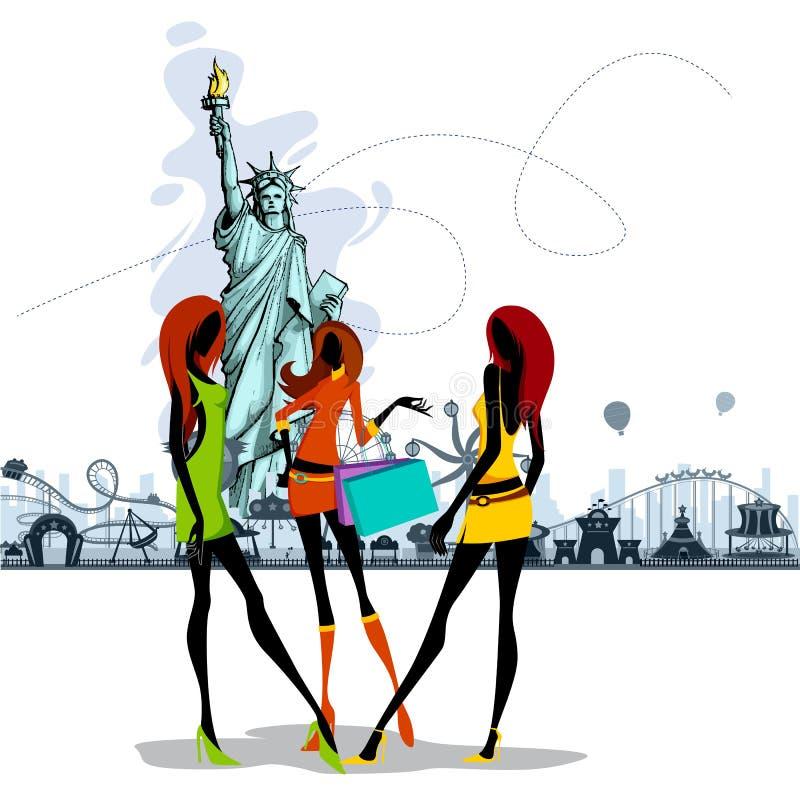 Las mujeres acercan a la estatua de la libertad ilustración del vector