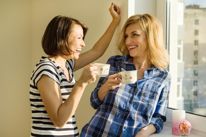 Las mujeres adultas beben el café, hablan, ríen Hogar del fondo, ventana solar imagenes de archivo