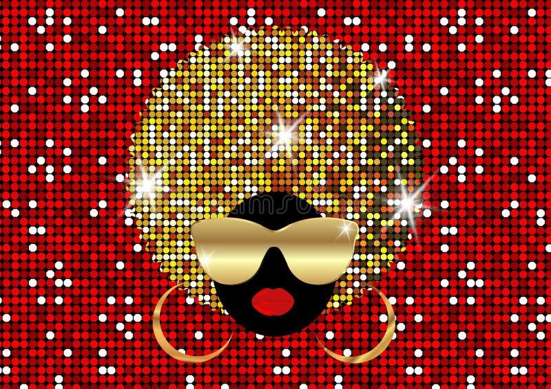 Las mujeres africanas del retrato, la cara femenina de la piel oscura con afro brillante del pelo y el oro metal las gafas de sol ilustración del vector