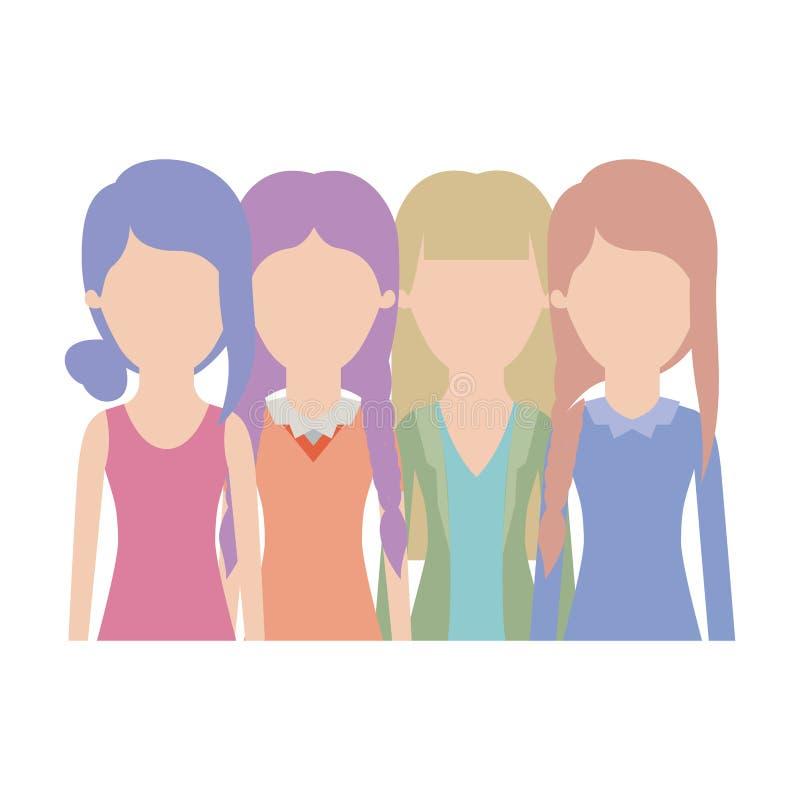 Las mujeres anónimas en medio cuerpo con ropa casual y franja trenzada del peinado recogieron y derecho en colorido libre illustration