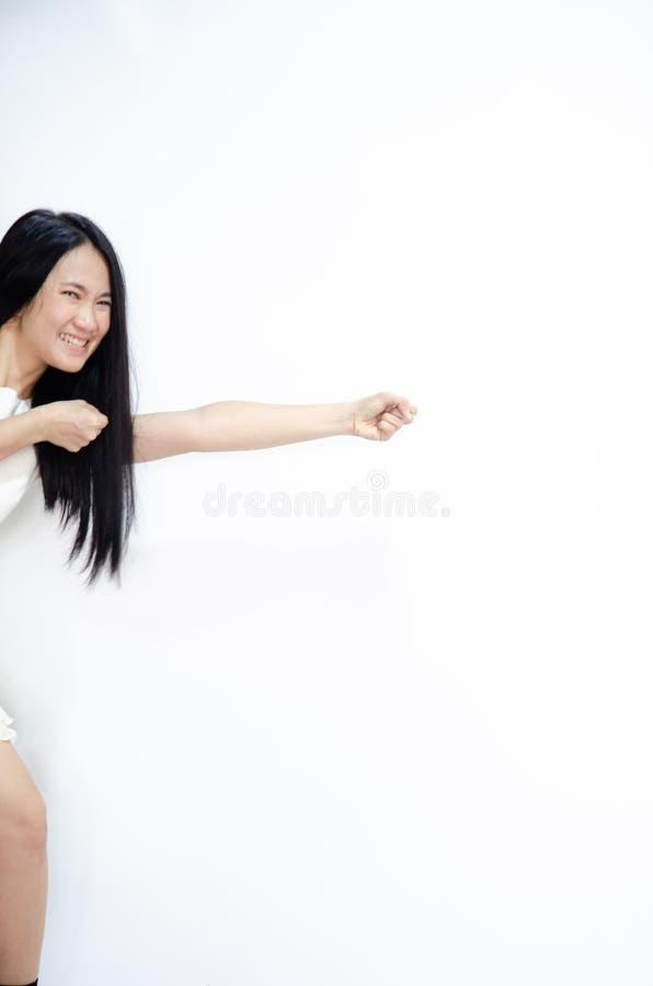 Las mujeres asi?ticas est?n sonriendo foto de archivo libre de regalías