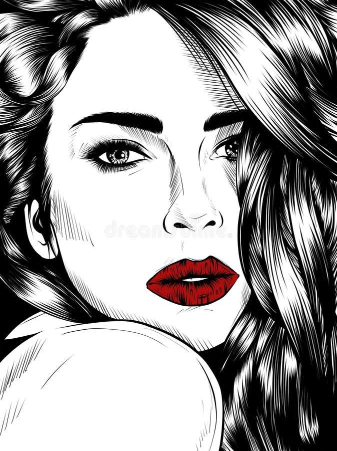Las mujeres atractivas, mano ahogan el ejemplo detallado aislado en el fondo blanco libre illustration