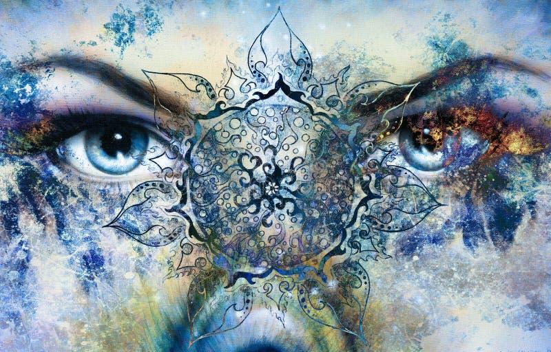 Las mujeres azules de la diosa observan, fondo multicolor con ilustración del vector