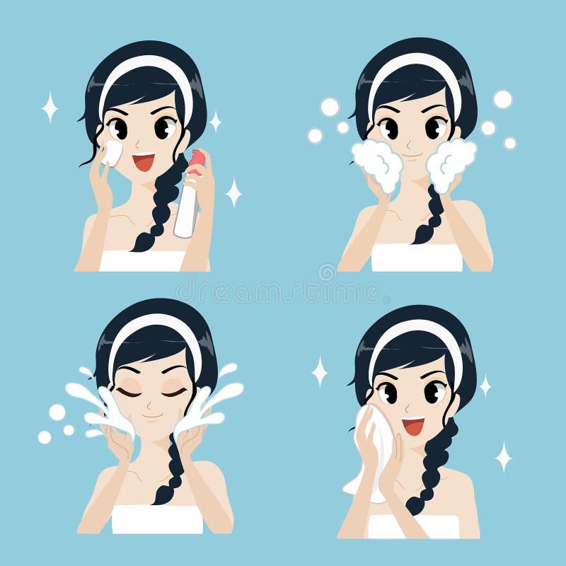 Las mujeres caminan sano facial de limpiamiento facial y mirada más jovenes libre illustration