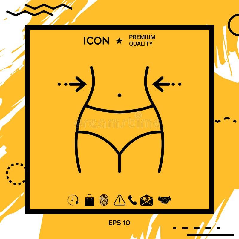Las mujeres cintura, pérdida de peso, dieta, cintura - alinee el icono stock de ilustración