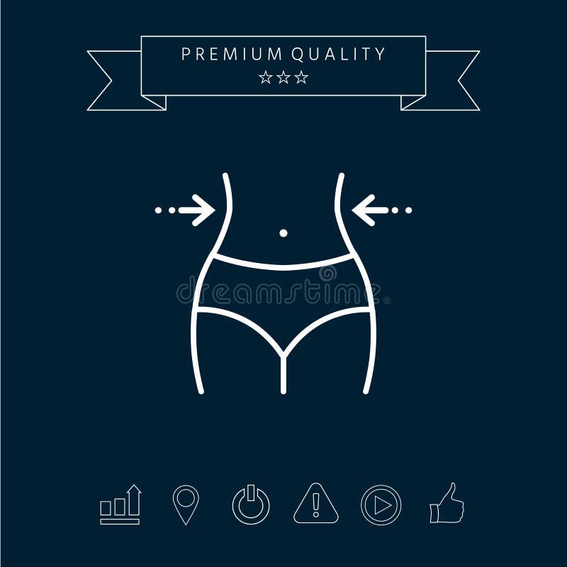 Las mujeres cintura, pérdida de peso, dieta, cintura - alinee el icono ilustración del vector