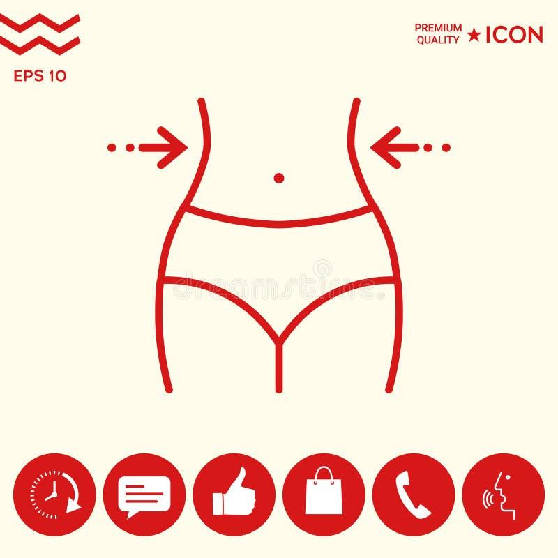 Las mujeres cintura, pérdida de peso, dieta, cintura - alinee el icono libre illustration