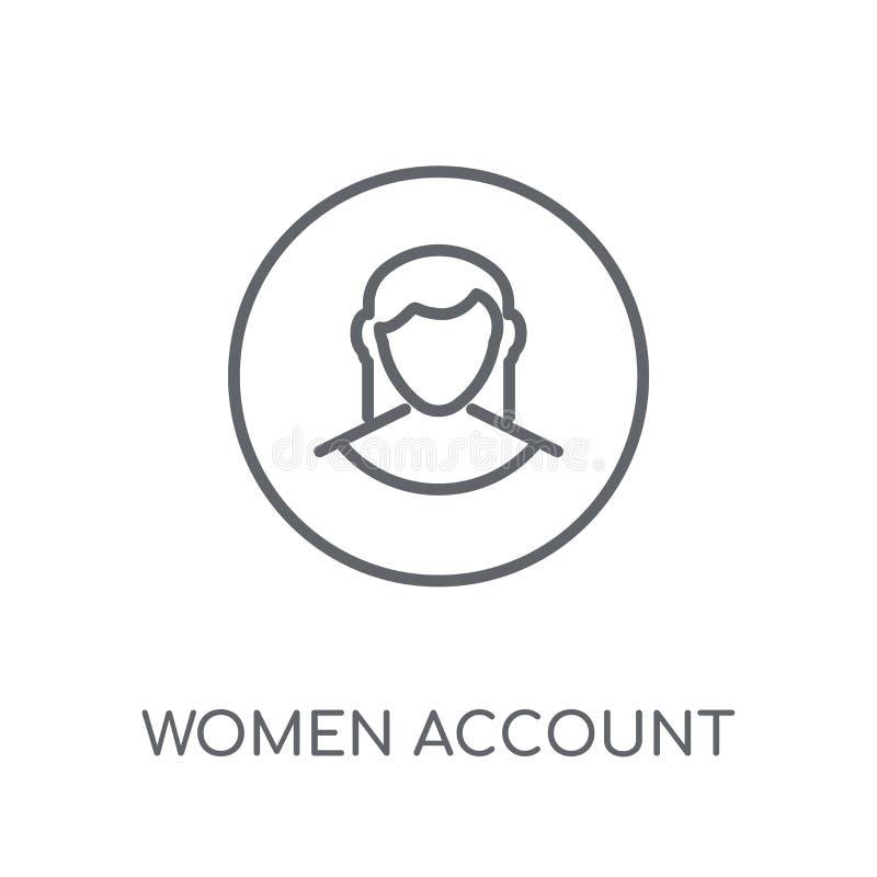 Las mujeres consideran icono linear Las mujeres modernas del esquema consideran estafa del logotipo stock de ilustración