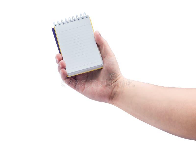 Las mujeres dan sostener el cuaderno del papel en blanco imagenes de archivo