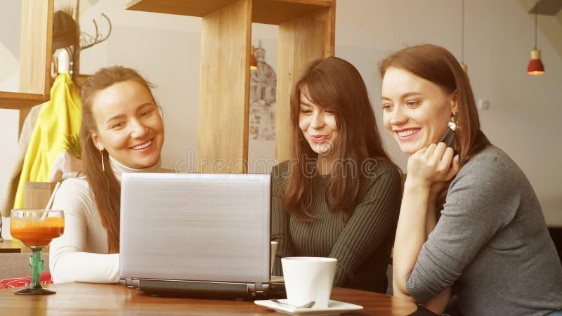 Las mujeres de los colegas discuten proyecto común en café usando un ordenador portátil imagen de archivo libre de regalías