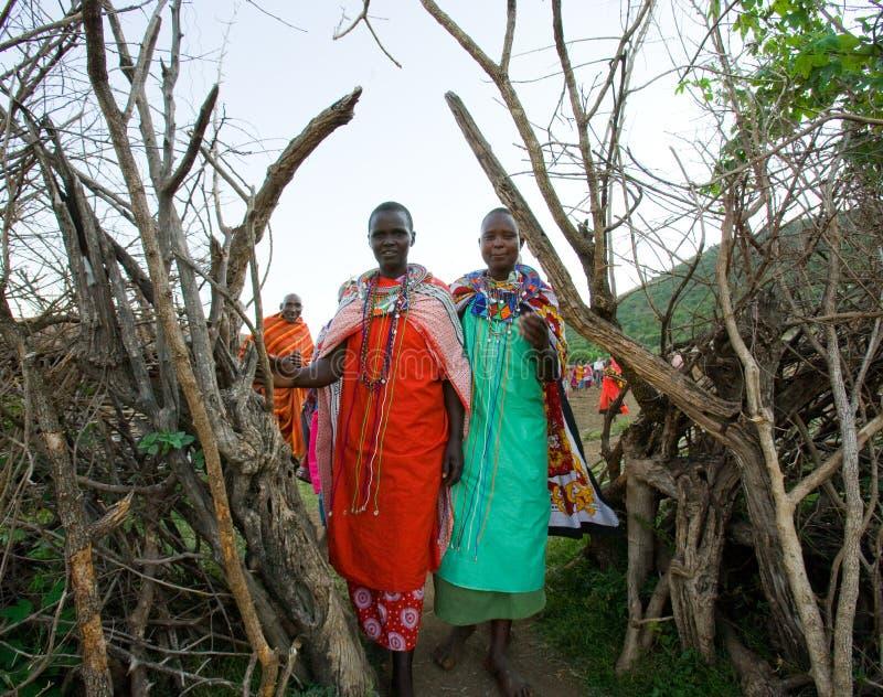 Las mujeres de Maasai se están colocando en las puertas del pueblo de Maasai imagen de archivo libre de regalías