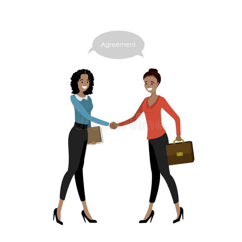 Las mujeres de negocios de diversas nacionalidades sacuden las manos stock de ilustración