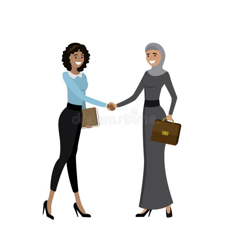 Las mujeres de negocios de diversas nacionalidades sacuden las manos ilustración del vector