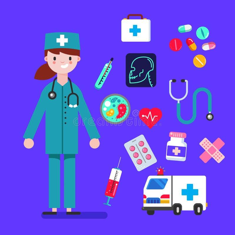 Las mujeres del carácter del doctor diseñan con los iconos médicos fijados Elementos del diseño para infographic Ilustración del  stock de ilustración