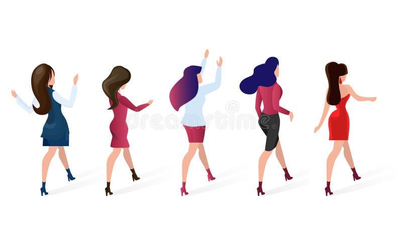 Las mujeres determinadas del grupo van ejemplo del vector que hace compras ilustración del vector
