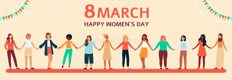 Las mujeres diversas colocan y llevan a cabo las manos, bandera plana femenina horizontal con texto el 8 de marzo libre illustration