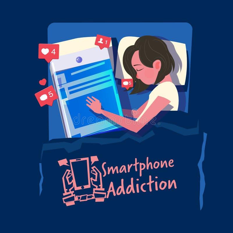 Las mujeres duermen con su smartphone en la cama smartphone o concepto social del apego de los medios - vector ilustración del vector