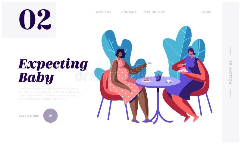 Las mujeres embarazadas felices pasan tiempo juntas que visitan el café para la taza de té y de charla, encontrando a amigos Form stock de ilustración