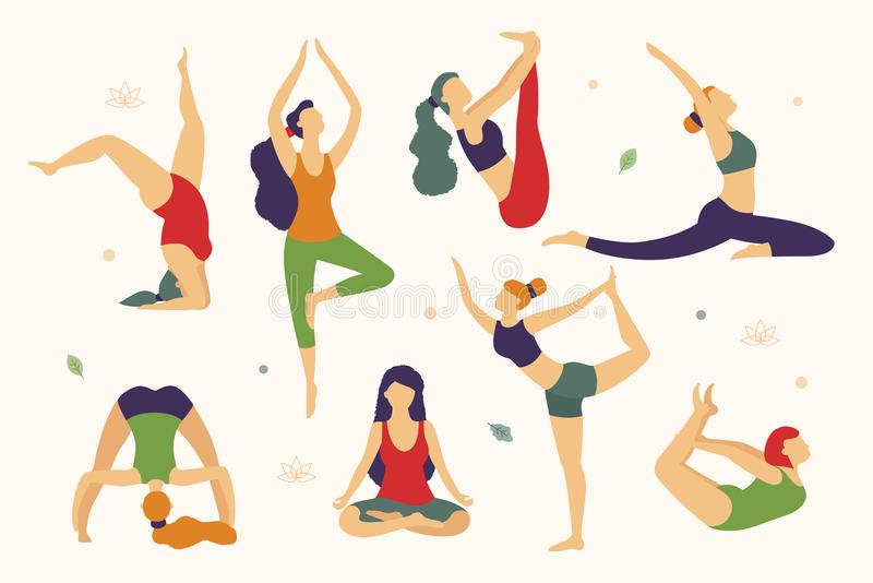 Las mujeres están haciendo yoga en el ejemplo plano de diverso vector de las actitudes aislado en el fondo blanco Yoga para cada  libre illustration