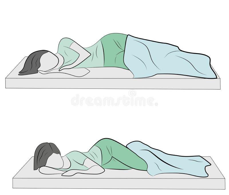 Las mujeres están mintiendo en la cama la mentira correcta de las posturas en la cama Ilustración del vector stock de ilustración