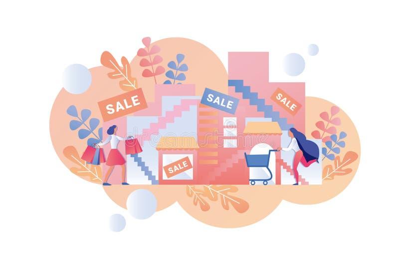 Las mujeres felices van centro comercial para la venta estacional libre illustration