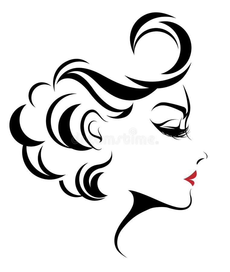 Las mujeres hermosas, mujeres del logotipo hacen frente a maquillaje en el fondo blanco, vector ilustración del vector