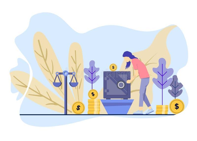 Las mujeres invierten su dinero en la caja Ilustraci?n del vector stock de ilustración