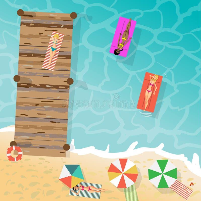 Las mujeres jovenes en bikini toman el sol en la arena y en un embarcadero de madera libre illustration