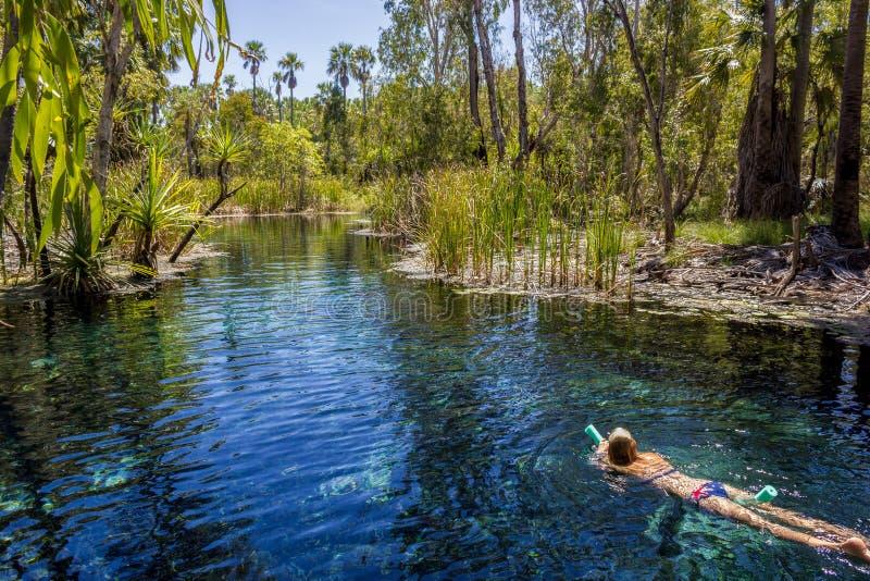 las mujeres jovenes est?n nadando en aguas termales del mataranka en el r?o del waterhouse, mataranka, Territorio del Norte, Aust fotografía de archivo