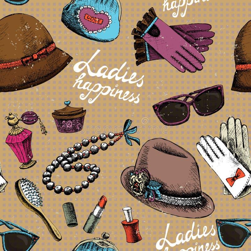 Las mujeres modelan con perfume del sombrero de los vidrios de los guantes y ilustración del vector