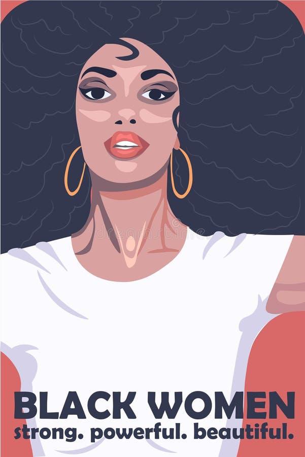 Las mujeres negras son fuertes, poderosas y hermosas, afiche ilustrativo Cultura africana ilustrada en un dibujo vectorial stock de ilustración