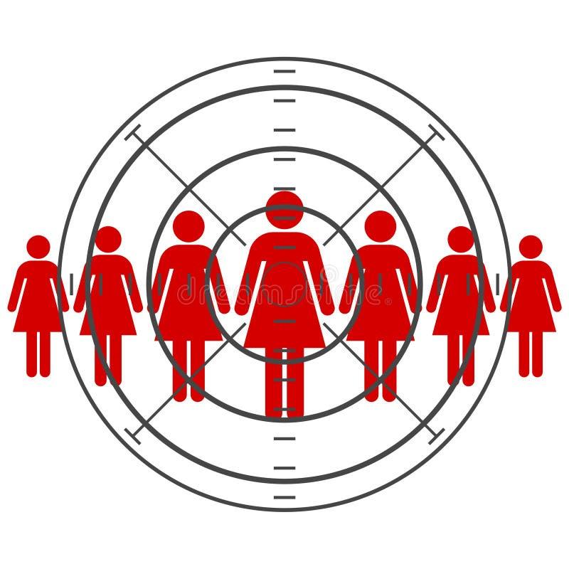 Las mujeres se están colocando, consumidor apuntado ilustración del vector