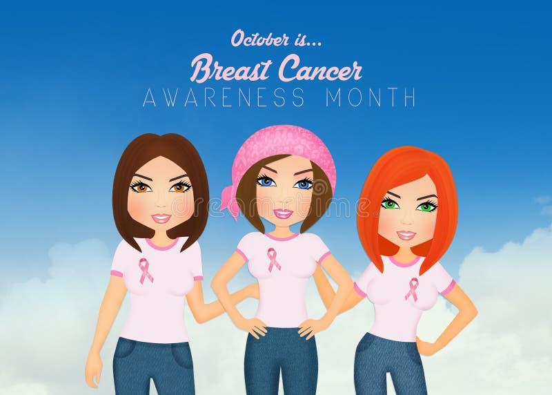 Las mujeres se unieron a para la lucha contra cáncer de pecho libre illustration