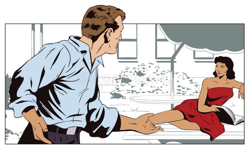 Las mujeres y el hombre están hablando en el patio de la casa illustrat común libre illustration
