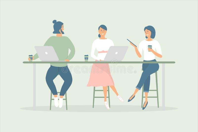 Las mujeres y los amigos o los colegas del hombre que se sientan en el escritorio en oficina o caf? moderna, trabajando en el cua ilustración del vector